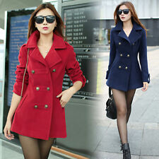 New Women Slim Fit double-breasted wool Trench Coat Casual Outwear Jacket