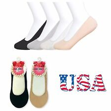 New Women's 3, 6, 12 Loafer Liner Low Cut Socks Nude Black Solid Foot Cover 9-11