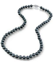 14K Gold 5.0-5.5mm Japanese Akoya Black Cultured Pearl Necklace - AAA Quality