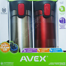 2 Pack AVEX Travel Coffee Mug AUTOSEAL Insulated Thermal Steel Thermos NEW