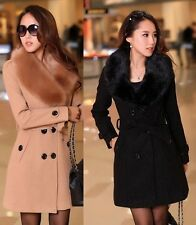 Women ladies Winter Double-Breasted Wool Faux Fur Trench Parka Coat Jacket