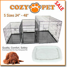 Dog Cage with Sheepskin Bed Cozy Pet Dog Crate Puppy 5 Sizes Folding Cat Crate