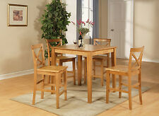 3 PIECE OR 5 PIECE COUNTER HEIGHT DINING ROOM TABLE PUB SET IN LIGHT OAK