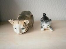 PORCELAIN Cat and kitten set. Collectors piece ideal for cat lovers Xmas Gift