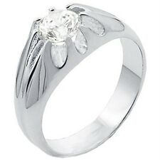 Men's Round Solitaire Wedding Band Ring Cubic Zirconia Promise Fashion