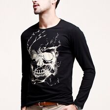 Hot Mens Crewneck Long Sleeve Skull Printed Casual T-Shirt Black Tee M L XL XXL