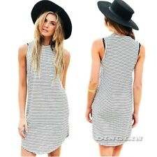 Women Sleeveless Casual Loose Striped Print Shift Summer Mini T Shirt Dress Vest