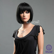 Women Girl Office Lady Wig Fashion BOBO Short Straight Black Neat Bangs Hair