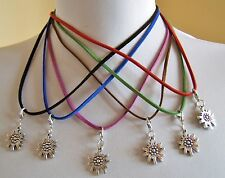 German Austrian Trachten Leather Necklace W. Edelweiss Pendant Oktoberfest NWOT