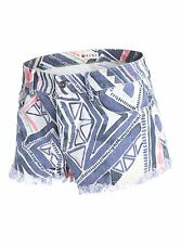 WOMENS ROXY BREAKING PRINTED DENIM SHORTS CUT OFF BEACH & CASUAL ERJDS00025 NEW