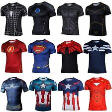 Men Superhero Marvel Comics Costume Cycling T-Shirts Short Sleeve Bicycle Jersey