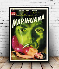 Marihuana , Vintage Pulp book cover Reproduction poster, Wall art.