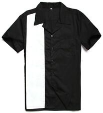 men's rockabilly clothing 1950s vintage online bowling shirts black white club