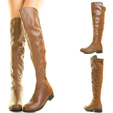 Rust Tan Slouchy Low Flat Heel Over Knee Thigh High Women Riding Motorcycle Boot