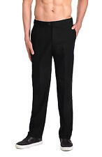 CONCITOR LINEN Men's Dress Pants Trousers Flat Front Slacks Solid BLACK Color