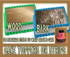 Wood or Bark Edible Cake toppers or strips / wraps paper frosting decal wedding