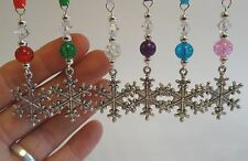 Christmas Tree Decoration - Silver Tone Snowflake - Bead & Swarovski Crystal