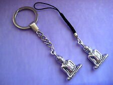 PICK YOUR CHARM Silver Buddha Good Fortune Keyring Keychain Mobile Phone Lanyard