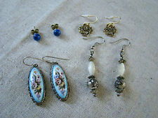 VTG Lot 4 Pair Pierced Earrings Studs Hand Painted Beaded & Gold Tone 361535