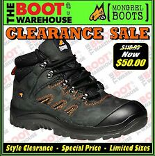 Mongrel Work Boots 580080. Black Hiker Boot, Steel Safety Toe Cap. CLEARANCE!