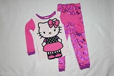 Toddler Girls L/S Pajama Set HELLO KITTY Pink Purple KNIT 12 MO 18 MO 3T 4T 5T