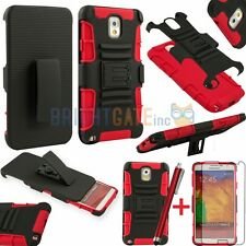 Combo Kickstand case w/ Holster Belt clip for Samsung Galaxy Note 3 N9000 +Gifts