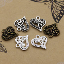 30/100pcs Retro Style Tibet Silver Love Hollow out Heart Charms Pendants 14x15mm