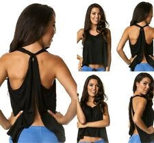 Coqueta Tank Top Open Back Sexy Halter Knotted Tunic Backless Sport Shirt BLACK