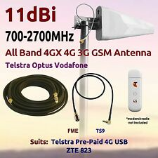 11dBi 4G 3G GSM All Band Antenna for Telstra PrePaid 4G USB ZTE 823 Coax FME TS9