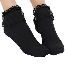 Great Quality New Vintage Retro Mesh Lace Ruffle Frilly Ankle Socks Colored L82