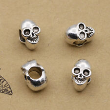 Simle Skull Charm Bead Retro Style Alloy perforation connect Fit DIY Bracelet