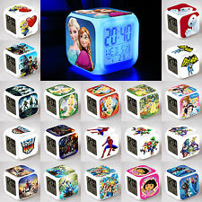7 Colors Glowing LED Flash Cube Digital Alarm Clock Multifunction Kids Children