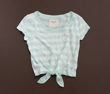 NWT Abercrombie A&F Striped Crop Tee S M Top T-shirt Turquoise NEW