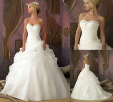 New Organza White/Ivory Wedding Bridal Gown Dress Stock Size 6 8 10 12 14 16 18