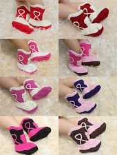 New Handmade Knit Crochet Cowboy Baby Boots Shoes Newborn Photo Prop 8 Color