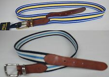 POLO RALPH LAUREN MEN'S $65 STRIPED BELT CLOTH WITH LEATHER TRIM EMBOSSED PONY
