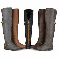Brinley Co. Womens Over-the-knee Inside Pocket Buckle Studded Boots