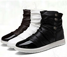 Korean Style Men's Lace Up Flats High-top Casual Shoes Ankle Boots Brown Black