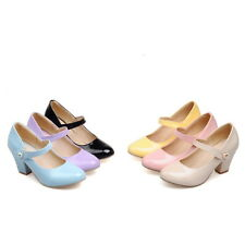New Synthetic Leather Mary Jane Strap Women Shoes Thick High Heel AU Size s074