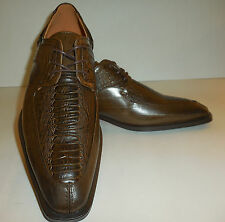 Mens Oxford Dress Shoes by Antonio Cerrelli 6536 Elegant Dark Brown Croco Look