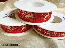 WIRED EDGE - FESTIVE REINDEER  RED AND GOLD RIBBON