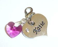 SWAROVSKI Element Crystal HEART NAME Charm KATIE 12 Colours CLIP or BAIL