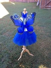 Monarch Butterfly Costume Wings Wand Set Halloween Girl 2T-5T ROYAL BLUE