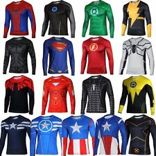 Superhero Marvel Costume Cycling T-Shirts Long Sleeve Bicycle Jersey Tops Sports