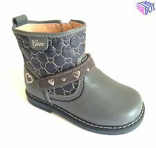 Geox B Glimmer G. B Girls New Grey Leather Ankle Boots Zip / Velcro Size 20 - 25
