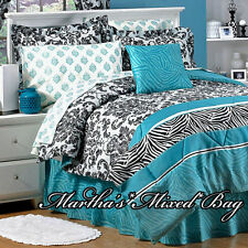 TEAL ZEBRA STRIPE Black PARISIAN FRENCH DAMASK Bedding 6-8p Comforter~Sheet Set