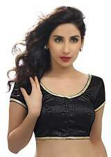 Ethnic Black Party-wear Silk Sari Blouse Saree Choli Indian Crop Top