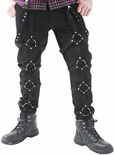 NEW DEAD THREADS BLACK STRAPS D RINGS ZIPS TROUSERS GOTHIC PUNK CYBER RAVE 30-38