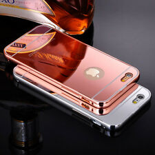 Luxury Aluminum Mirror Metal Case Cover for Apple iPhone with Screen Protector
