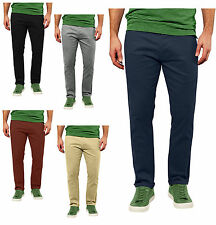 New Casual Mens Chino Jeans Bottom Cotton Pants Slim Fit Straight Leg Trousers